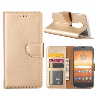 Bookcase Motorola Moto E5 Play hoesje - Goud