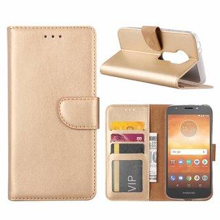 Luxe Lederen Bookcase hoesje voor de Motorola Moto E5 Play - Goud
