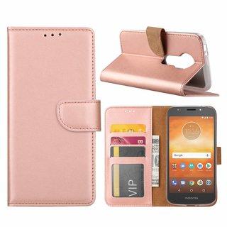 Luxe Lederen Bookcase hoesje voor de Motorola Moto E5 Play - Metallic Roze