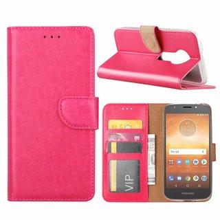Luxe Lederen Bookcase hoesje voor de Motorola Moto E5 Play - Roze