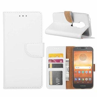 Luxe Lederen Bookcase hoesje voor de Motorola Moto E5 Play - Wit