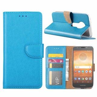 Luxe Lederen Bookcase hoesje voor de Motorola Moto E5 Play - Blauw