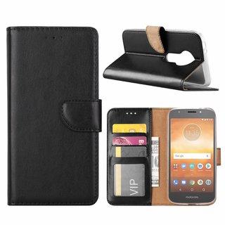 Luxe Lederen Bookcase hoesje voor de Motorola Moto E5 Play - Zwart