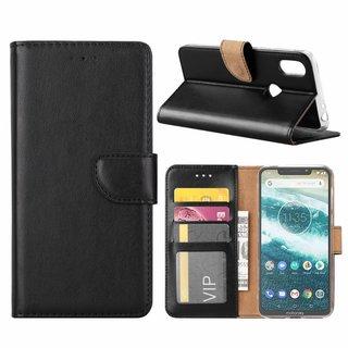 Luxe Lederen Bookcase hoesje voor de Motorola Moto One - Zwart