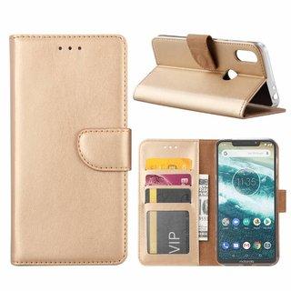 Luxe Lederen Bookcase hoesje voor de Motorola Moto One - Goud