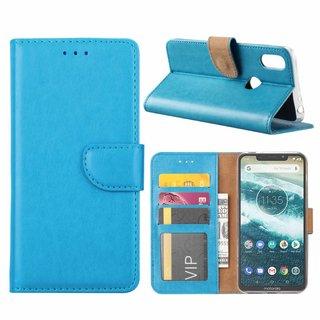 Luxe Lederen Bookcase hoesje voor de Motorola Moto One - Blauw