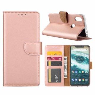 Bookcase Motorola Moto One hoesje - Rosé Goud