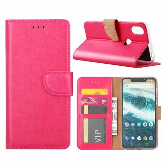 Bookcase Motorola Moto One hoesje - Roze