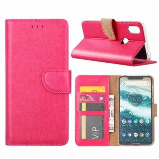 Luxe Lederen Bookcase hoesje voor de Motorola Moto One - Roze