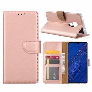 Luxe Lederen Bookcase hoesje voor de Huawei Mate 20 - Metallic Roze