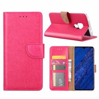 Luxe Lederen Bookcase hoesje voor de Huawei Mate 20 - Roze