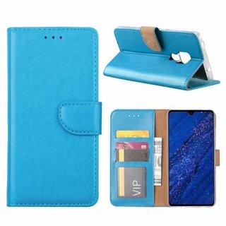 Luxe Lederen Bookcase hoesje voor de Huawei Mate 20 - Blauw