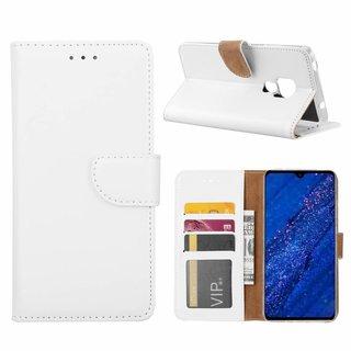 Luxe Lederen Bookcase hoesje voor de Huawei Mate 20 - Wit