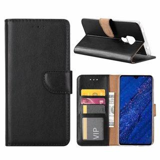 Luxe Lederen Bookcase hoesje voor de Huawei Mate 20 - Zwart