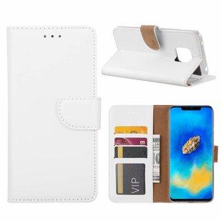 Luxe Lederen Bookcase hoesje voor de Huawei Mate 20 Pro - Wit