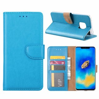 Luxe Lederen Bookcase hoesje voor de Huawei Mate 20 Pro - Blauw