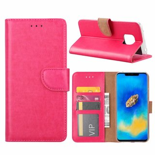 Luxe Lederen Bookcase hoesje voor de Huawei Mate 20 Pro - Roze