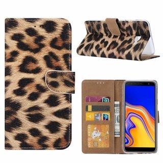Panter print lederen Bookcase hoesje voor de Samsung Galaxy J4 Plus 2018
