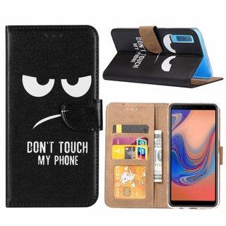 Don't Touch My Phone print lederen Bookcase hoesje voor de Samsung Galaxy A7 2018 - Zwart