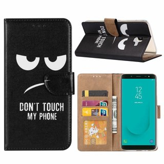 Don't Touch My Phone print lederen Bookcase hoesje voor de Samsung Galaxy J6 Plus 2018 - Zwart