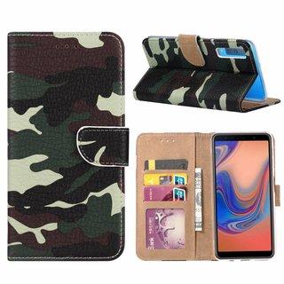 Leger Camouflage print lederen Bookcase hoesje voor de Samsung Galaxy A7 2018