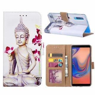 Buddha print lederen bookcase hoesje voor de Samsung Galaxy A7 2018 - Wit