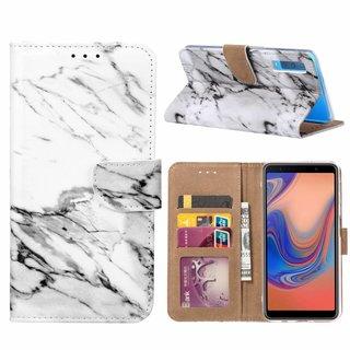 Marmer print lederen Bookcase hoesje voor de Samsung Galaxy A7 2018 - Wit