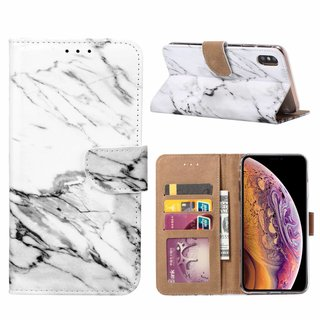 Marmer print lederen Bookcase hoesje voor de Apple iPhone XS Max - Wit