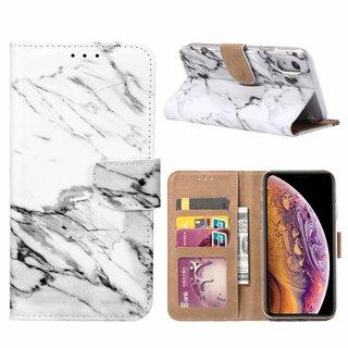 Marmer print lederen Bookcase hoesje voor de Apple iPhone XR - Wit