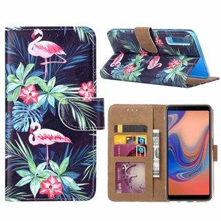 Flamingo print lederen Bookcase hoesje voor de Samsung Galaxy A7 2018 - Zwart