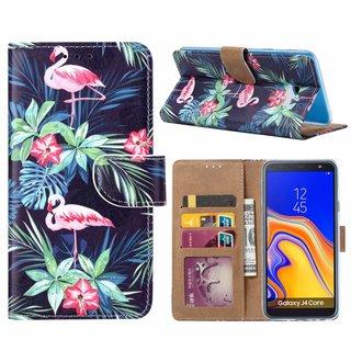 Flamingo print lederen Bookcase hoesje voor de Samsung Galaxy J4 Plus 2018 - Zwart