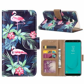 Flamingo print lederen Bookcase hoesje voor de Samsung Galaxy J6 Plus 2018 - Zwart
