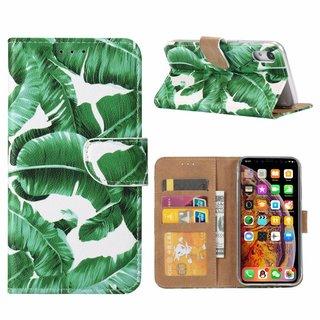 Planten print lederen Bookcase hoesje voor de Apple iPhone XR - Wit