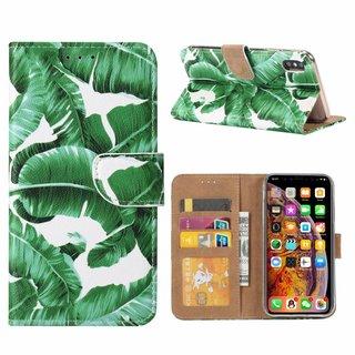 Planten print lederen Bookcase hoesje voor de Apple iPhone XS Max - Wit