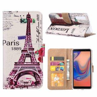 Parijs print lederen Bookcase hoesje voor de Samsung Galaxy A7 2018 - Wit