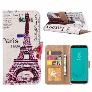 Parijs print lederen Bookcase hoesje voor de Samsung Galaxy J6 2018 - Wit
