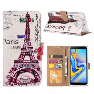 Parijs print lederen Bookcase hoesje voor de Samsung Galaxy J6 Plus 2018 - Wit