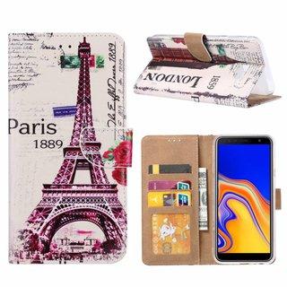 Parijs print lederen Bookcase hoesje voor de Samsung Galaxy J4 Plus 2018 - Wit