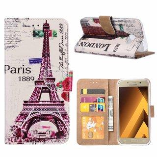 Parijs print lederen Bookcase hoesje voor de Samsung Galaxy A5 2017 - Wit