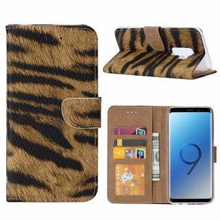 Tijger print lederen Bookcase hoesje voor de Samsung Galaxy S9 Plus