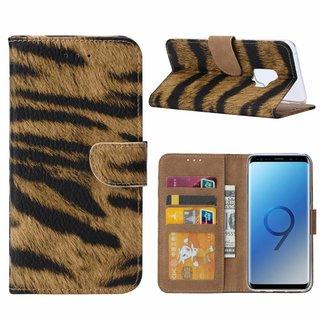 Tijger print lederen Bookcase hoesje voor de Samsung Galaxy S9