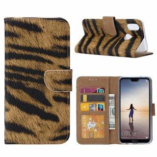 Tijger print lederen Bookcase hoesje voor de Huawei P20 Lite