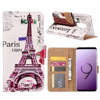 Parijs print lederen Bookcase hoesje voor de Samsung Galaxy S9 Plus - Wit