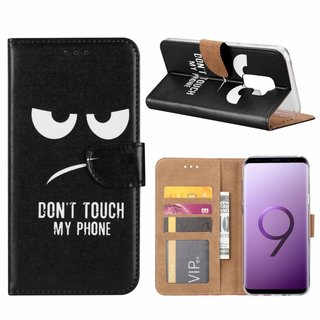Don't Touch My Phone print lederen Bookcase hoesje voor de Samsung Galaxy S9 Plus - Zwart