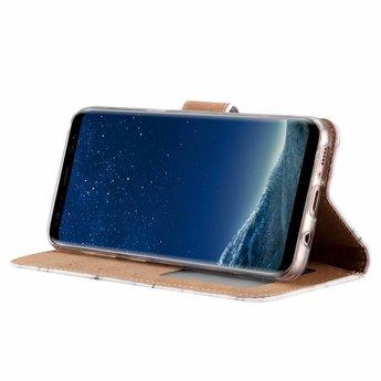 Marmer print lederen Bookcase hoesje voor de Samsung Galaxy S8 - Wit