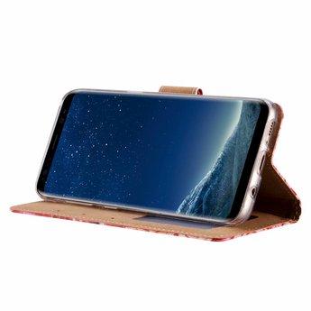 Rozen print lederen Bookcase hoesje voor de Samsung Galaxy S8 - Roze