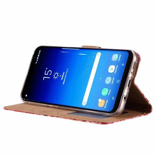 Rozen print lederen Bookcase hoesje voor de Samsung Galaxy S8 Plus - Roze