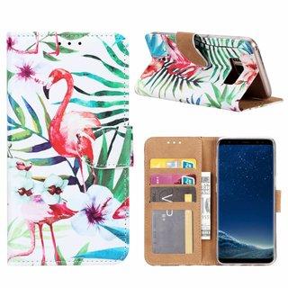 Flamingo print lederen Bookcase hoesje voor de Samsung Galaxy S8 - Wit