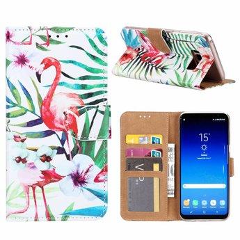 Flamingo print lederen Bookcase hoesje voor de Samsung Galaxy S8 Plus - Wit