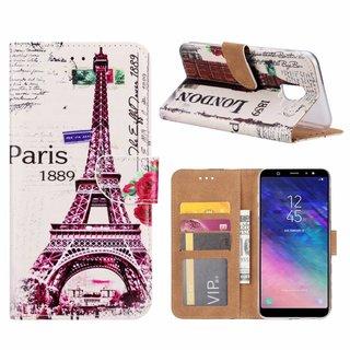 Parijs print lederen Bookcase hoesje voor de Samsung Galaxy A6 2018 - Wit